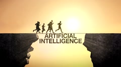 Pencil write 'Artificial Intelligence', Businessman crossing the cliff. Stock Footage