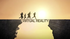 Pencil write 'VIRTUAL REALITY', connecting. Businessman crossing the cliff Stock Footage