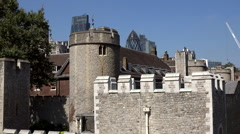 Great Britain England modern skyline behind old walls of London Tower Stock Footage