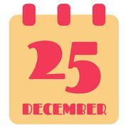 25 December calendar pink and yellow symbol, isolated vector Stock Illustration