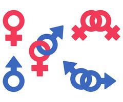 Isolated vector symbols of woman, man, lesbian, gay, heterosexual couples Stock Illustration