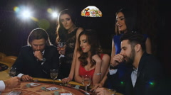 Lucky Man in the Black Suit is Winning Money in the Casino Stock Footage