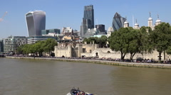 Great Britain England City of London Tower, Gherkin, Walkie-Talkie, Cheesegrater Stock Footage