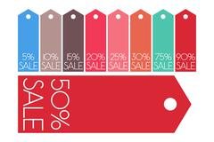 Vector sale shopping tags set: 5%, 10%, 15%, 20%, 25%, 30%, 50%, 75%, 90% Stock Illustration