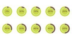 5%, 10%, 15%, 20%, 25%, 30%, 35%, 40%, 45%, 50% vector pie charts Stock Illustration