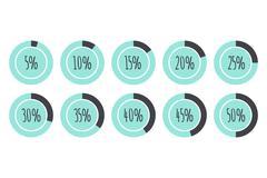 Pie Charts 5%, 10%, 15%, 20%, 25%, 30%, 35%, 40%, 45%, 50%. vector infographics Stock Illustration