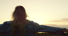 Young Woman at Sunset Stock Footage