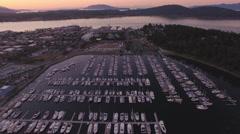 Aerial of Anacortes Marina with Purple Sunset on San Juan Islands Stock Footage