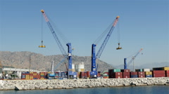 4k, a large cranes in the port 1 Stock Footage