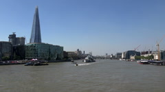 Great Britain England Thames River with City of London north and south side Stock Footage