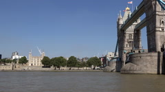 Great Britain England City of London Tower Bridge over Thames River Stock Footage