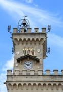 Detail of the clock tower of the main building in freedom square of in San Ma Stock Photos