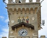 Detail of the clock tower of the main palace in freedom square of in San Mari Stock Photos
