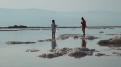 Israel.Dead Sea.Photos on the shores of the Dead Sea. Stock Footage