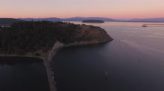 Aerial Above Anacortes Lookout with Freight Boat and Mount Baker Stock Footage