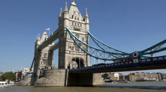 Great Britain England City of London Thames excursion boat under Tower Bridge Stock Footage