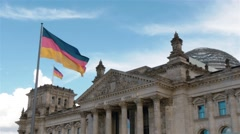 Locked down Real time medium shot of The German Parliament in Berlin, Germany. Stock Footage