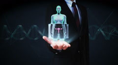 Businessman open palm, Zooming female body scanning womb, blue X-ray image. Stock Footage