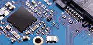 Integrated semiconductor microchip Stock Photos