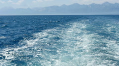 Trail of a ship on the sea water, slow motion 2 Stock Footage