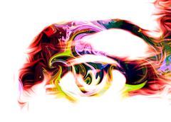 Eye graphic desigh, computer collage on white background Stock Illustration
