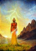 An enchanting mystical priestess with a sword of light and phoenix bird, graphic Piirros