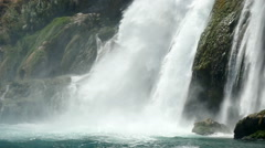 Mountains waterfall flowing into the sea in Antalya, Turkey, slow motion 2 Stock Footage
