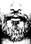 Detail of man face with moustache and beard, computer graphic design Stock Illustration