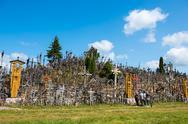 SIAULIAI, LITHUANIA - JUL 12, 2015: The Hill of Crosses (Kryziu kalnas) in Si Stock Photos