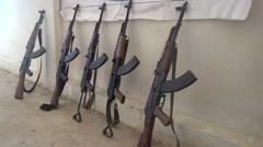 Five Kalashnikovs fight athwart ISIS, SDF-YPJ  - Training camp Stock Footage