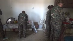 Syria - February 13, 2016: Women troops washing dishes, SDF- YPJ - Training camp Stock Footage