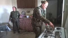 Syria - February 13, 2016: YPJ troops preparing food, SDF-YPJ - Training camp Stock Footage