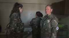 Syria - February 13, 2016: YPJ cleaning the kitchen , SDF-YPJ  - Training camp Stock Footage