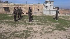 Syria - February 13, 2016: YPJ drill with kalashnikov, SDF-YPJ - Training camp Stock Footage