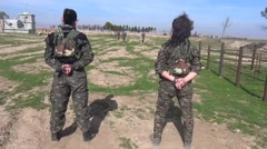 Syria - February 13, 2016: Women YPJ limber up, SDF-YPJ - Training camp Stock Footage