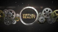 Connecting Gear wheels and make keyword, 'VIRTUAL REALITY' (included alpha) Stock Footage