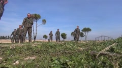 Syria - February 13, 2016: YPJ troops change positions, SDF - Training camp Stock Footage