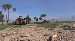 Syria - February 13, 2016: Troops ready for shooting, SDF-YPJ- Training camp Stock Footage