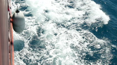 Trail of a ship on the sea water, slow motion 1 Stock Footage