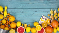 Citrus fruits orange stop motion animation copy space 4k intro video background Stock Footage