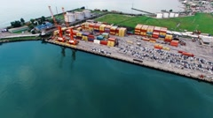 Cargo port Batumi Georgia 4k aerial video. Shipping containers dock storage Stock Footage