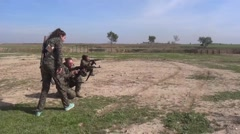 Syria - February 13, 2016: Troops exercises on range, SDF-YPJ - Training camp Stock Footage