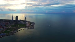 Flying over Batumi City Georgia coast 4k aerial video. Seashore bay tower Stock Footage