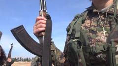Syria - February 13, 2016:Women soldier show kalashnikov,SDF-YPJ - Training camp Stock Footage