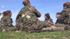Syria - February 13, 2016: Women have a good time, SDF-YPJ - Training camp Stock Footage