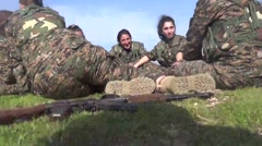Syria - February 13, 2016: YPJ troops amuse and have fun, SDF - Training camp Stock Footage