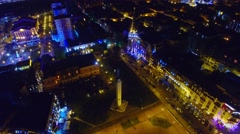 Flying over night Batumi City Georgia downtown 4k aerial video. Europe square Stock Footage