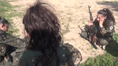 Syria - February 13, 2016: YPJ watch to keep kalashnikov,SDF- Training camp Stock Footage