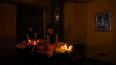 Group massage at the massage parlor Stock Footage