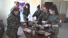 Syria - February 13, 2016: Women troops on dinner, SDF-YPJ - Training camp Stock Footage